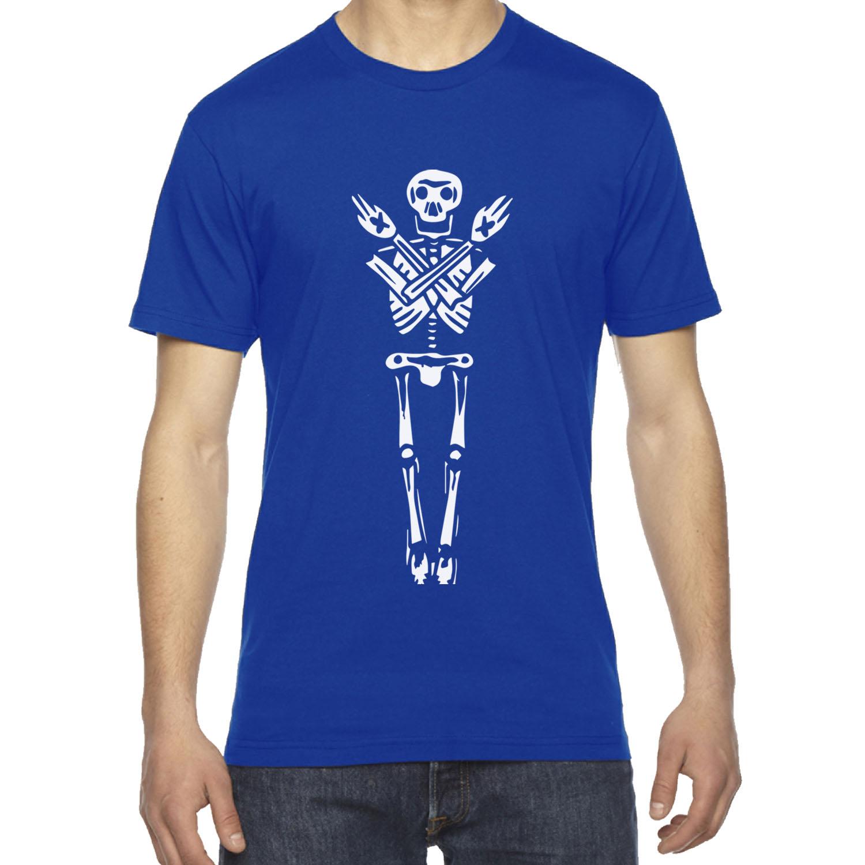 Mens Skeleton Huge Print Death Bones Straight Edge