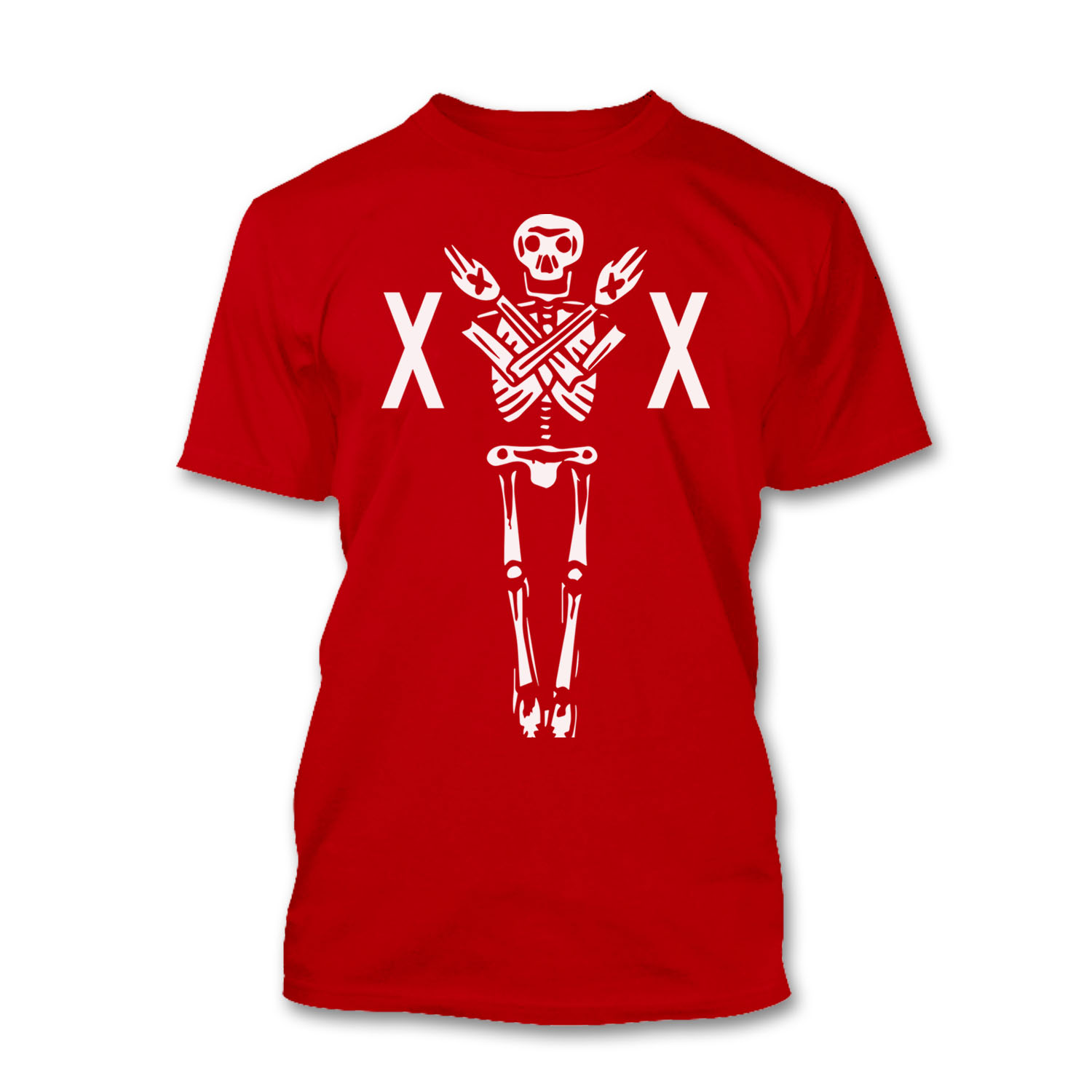 Mens Skeleton Huge Print Triple X Rated Straight Edge