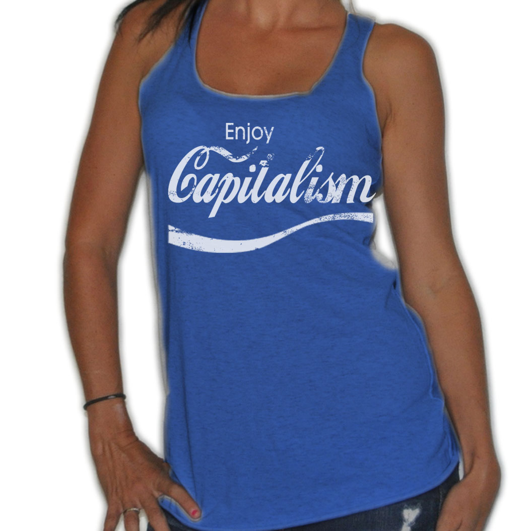 FROSTY-TEES-WOMENS-ENJOY-CAPITALISM-PARODY-POLITICAL-FLOWY-THIN-TANK-TOP