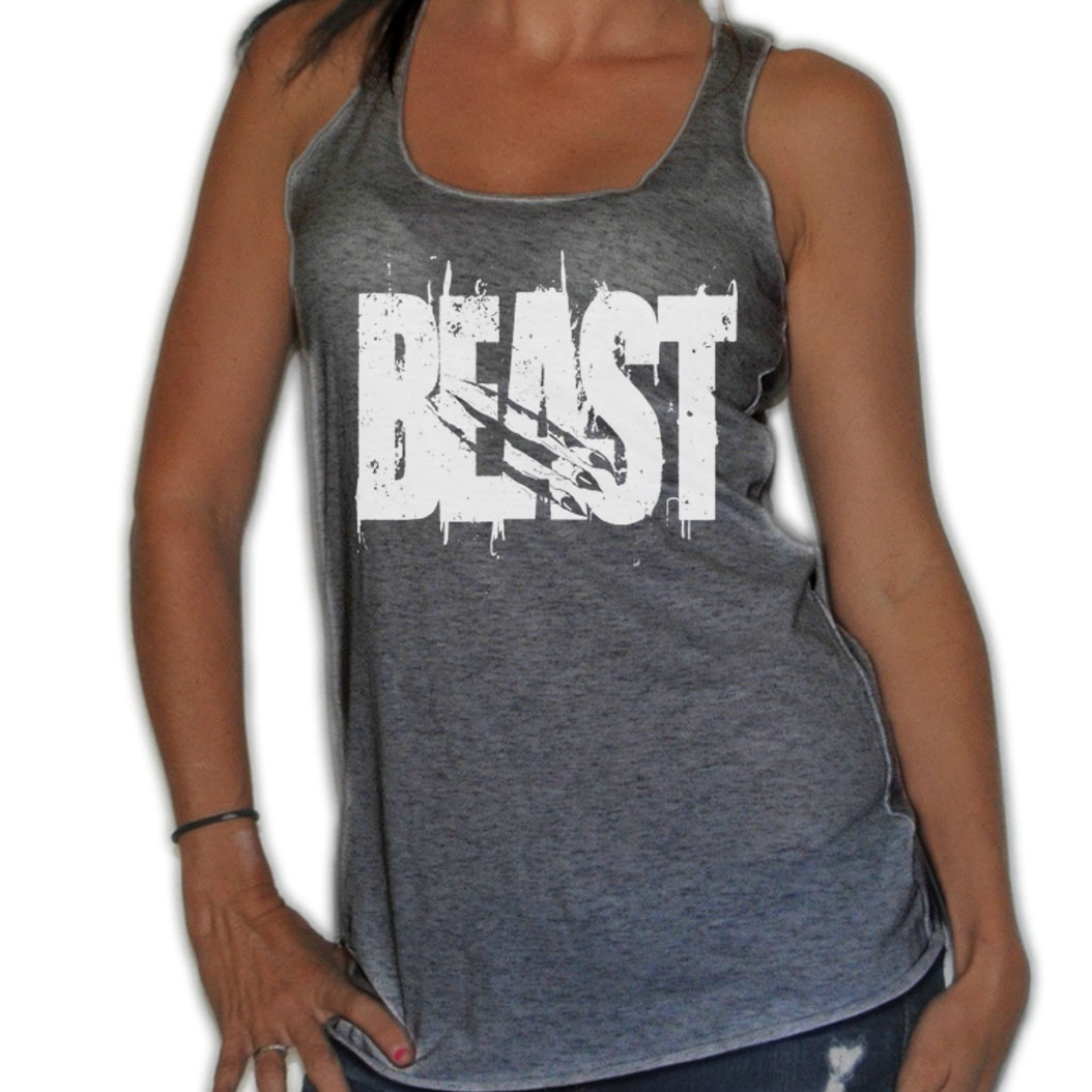 FROSTY-TEES-WOMENS-BEAST-WHITE-CLAW-RIP-TEAR-WEIGHTLIFTING-FLOWY-THIN-TANK-TOP